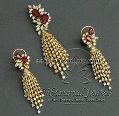Jewellery Designs: Tassels Patterned Diamond Pendant