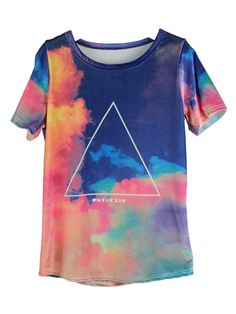 Triangular Short-sleeved T-shirt In Colorful Shading | Choies