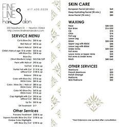 Fine Lines Hair Salon Services Menu - Newton, MA. An example of the pricing using the amount and up option. Hair Salon Prices, Salon Price List, Spa Treatment Room, Spa Menu, Salon Business, Business Ideas, Nail Salon Decor, European Facial, Acne Facial