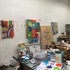 Could a studio get any messier? Getting in clean up mode for a photo shoot here tomorrow. That is if...I don't get too distracted by the paintings in progress. Lol