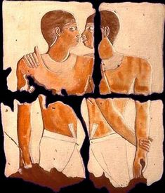 Niankhkhnum and Khnumhotep, two male royal servants in the 5th dynasty palace of King Niuserre. Portrayed in the tomb in intimate embraces - nose to nose and hugging. Niankhkhnum's official wife, was almost completely erased in ancient times. In other pictures Khnumhotep occupies the official position for a wife.  They were buried side by side in a rich royal tomb of their own.     Illustration from photograph © 1999 Greg Reeder    Source:     http://www.egyptology.com/niankhkhnum_khnumhotep/
