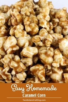 Easy Homemade Caramel Corn – buttery and caramel-y popcorn that tastes just the way it should. And don't worry – no corn syrup needed for this Caramel Popcorn recipe! Your family will ask you to make this popcorn treat again and again. Pin this yummy a Caramel Corn Recipes, Candy Recipes, Sweet Recipes, Snack Recipes, Dessert Recipes, Cooking Recipes, Carmel Popcorn Recipe Easy, Popcorn Balls Recipe No Corn Syrup, Homemade Carmel Corn