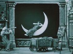 The woman on the moon blows kisses to a lucky stargazer in Gaston Velle's Voyage autour d'une étoile (1906).