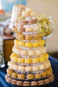 beautiful macaron tower // photo by Marissa Moss Photography: http://www.marissa-moss.com || see more on http://www.artfullywed.com