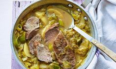 Dine like a lord! Pork fillet with apples, leeks and cider