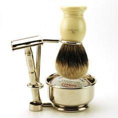 Ivory & Chrome Complete DE Shaving Kit