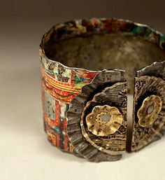 rustic boho gypsy tin cuff bracelet......we're riding on the carousel of time. 124.00, via Etsy.
