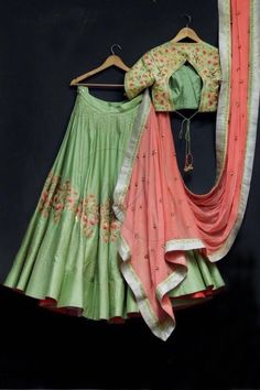 Beautiful pista green color lehenga and blouse with pink color dupatta. Lehenga and blouse with floral design hand embroidery thread work. Lengha Choli, Indian Lehenga, Anarkali, Lehenga Gown, Indian Attire, Indian Ethnic Wear, Indian Dresses, Indian Outfits, Indian Clothes