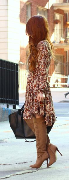 Boho dress + over the knee boots