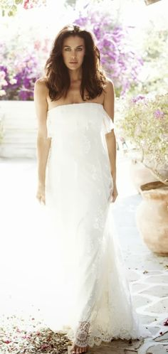 Strapless white glamorous maxi dress fashion