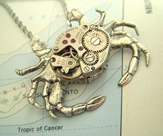 Steampunk Crab Necklace Vintage Watch Movement by CosmicFirefly. $55.00, via Etsy.