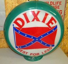 Old Dixie Rebel Flag Gas Pump Globe
