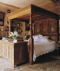 William And Mary Style Carved Oak Four Poster Bed Antique Beds