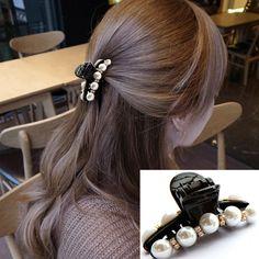 1ペアヘアクリップ黒爪クリップクリスタルパールプラスチック用女性/女の子パーティー祭りラインストーンヘアピン髪バンドアクセサリー