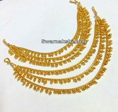 Gold Bangles Design, Gold Earrings Designs, Jewelry Design, Diamond Earrings Indian, Gold Jhumka Earrings, Ear Jewelry, Gold Jewelry, Jewelery, Ear Chain