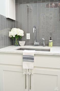 Beautiful Laundry Room Ideas Danze Kitchen Faucet Stainless Sink Gray Subway Tile Installed Vertically