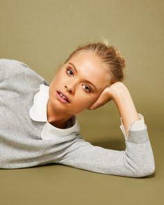 d443a83cfc1 Scallop collar wool and silk-blend sweater - Light Gray