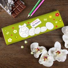 Große Schokolade zu Ostern mit Malvorlage