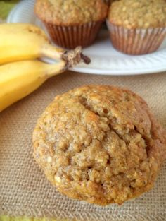 Banana Oat Muffins. They freeze and thaw nicely in the microwave so they are great to have on hand for mornings when you need a quick breakfast.