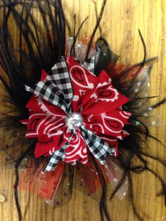 """Red White Pink Cupcake Feather Hair Bow 5/"""""""