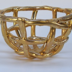 4th Coil Basket - Kühn Keramik (like Lisa's lesson but draped over a bowl and using coils that are painted metallic)