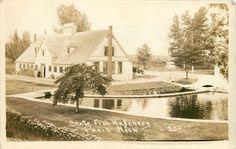 Paris Michigan~Sepia Real Photo Postcard~Pond @ State Fish Hatchery~1920s Car