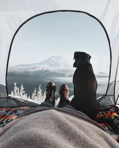 sharing a winter view from the tent with a friend | camping + outdoors #adventure