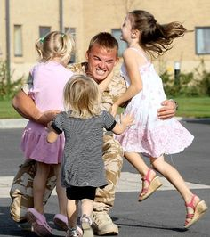 1. What a wonderful heart-warming story ~ soldier comes home ~ Emotional: Phil Armitage, from Yorkshire UK... one of three members of 3 Para who returned home from a six-month stint in Helmand, is greeted by his daughters..... please read full story:    http://www.dailymail.co.uk/news/article-1063708/Daddys-home-The-moment-British-soldier-reunited-young-daughters-surviving-Afghanistan.html#ixzz2GSxx6vt2   Follow us: @MailOnline on Twitter | DailyMail on Facebook