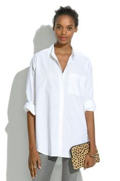 Oversized Button-Down Shirt. To wear with leather leggings!