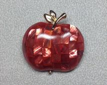 Vintage Red Mosaic Apple Liz Claiborne Gold Tone Stem Brooch Pin Jewelry