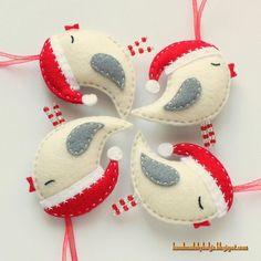 Felt Birds with Santa Hats whimsical kitsch,shabby chic christmas decoration design
