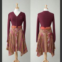 A re-fashioned cardigan/skirt I'm admiring on Etsy.