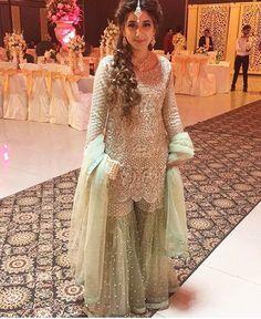 Beautiful Dress For An Eid Pakistani Party Wear, Pakistani Wedding Outfits, Pakistani Couture, Bridal Outfits, Pakistani Dresses, Indian Outfits, Pakistani Gharara, Sharara Designs, Designer Party Wear Dresses