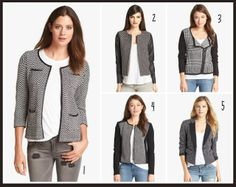 Black and White graphic jacket choices!  I love them all, but #1 is my favorite.