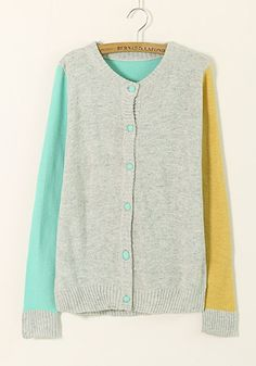 Green Color Block Long Sleeve Cotton Blend Cardigan