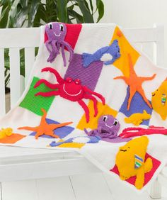 I need to find this pattern in crochet or learn to knit it's too cute - Sea Creatures Throw