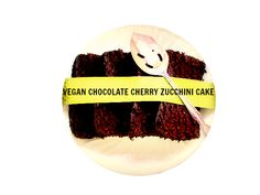 Chocolate Cherry Zucchini Cake with a silky melted chocolate cherry cream sauce - From Canned-Time.com