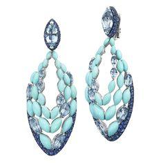 MELODY OF COLOURS Collection - Earrings - White Gold, Aquamarine, cabochon-cut Turquois, blue sapphire -   - De Grisogono - https://degrisogono.com