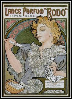 "Lance Parfum ""Rodo"" ~ Art Nouveau perfume poster by Alphonse Mucha, 1896"