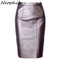 Neophil 2017セクシーなフェイクファーレザーpuハイウエストミディ女性ペンシルスカートピンクオフィスラップボディコン短い女の子チュチュサイアS08019