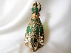 Edwardian Emerald Glass Perfume Bottle Hand painted OOAK by VioMar, $95.00