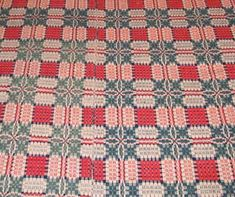 """Overshot coverlet, early 19th century, 60x86. """"Foxes Chase"""" or """"Stars"""" pattern in dark blue, Madder red, natural and sea green (Photos one and two are reverse sides). The sea green dyes must have been from different lots (probably overdyed blue and yellow) because one is more yellow than the other"""