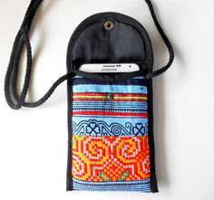 Handmade phone pouch with long neck strap Hilltribe Thailand
