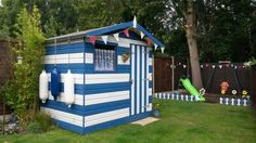 Beach hut themed garden shed. This is painted with cuprinol ...