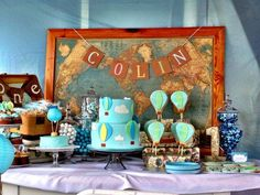 Amazing dessert table at a Hot Air Balloon boy birthday party! See more party planning ideas at CatchMyParty.com!
