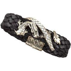 John Hardy Woven Leather Dragon Bracelet (€460) ❤ liked on Polyvore featuring men's fashion, men's jewelry, men's bracelets, black, mens sterling silver bracelets, mens leather braided bracelets and john hardy mens bracelets