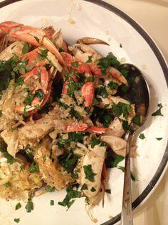 Garlicky Baked Dungeness Crab.  VanessaLarson.com
