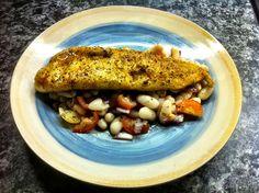 Panfried Cajun Deep Water Hake on White Fagioli Cannellini Bean, Tomato, Red Onion Salad (Lemon Basil Dressing)