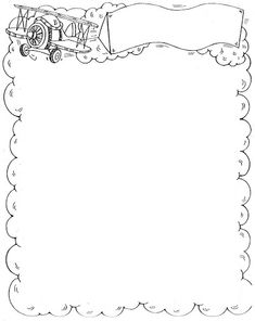 Change plane clip-art to kitchen / food theme . Cool Coloring Pages, Free Coloring, Coloring Books, Page Borders Design, Border Design, Borders For Paper, Borders And Frames, Stationary Printable, Quiet Book Templates