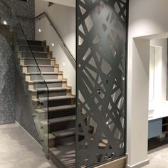 Laser cut framed screen - Private client - Miles and Lincoln - Laser Cut Screens Modern Stair Railing, Stair Railing Design, Modern Stairs, Stair Decor, Glass Railing, Living Room Partition Design, Room Partition Designs, Interior Stairs, Home Interior Design